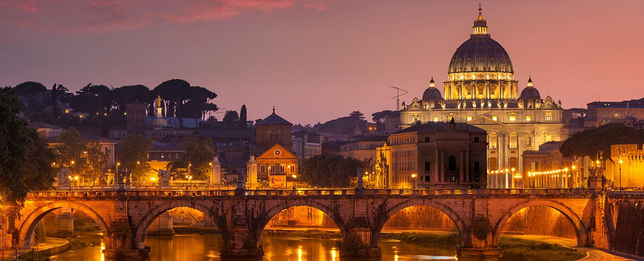 Roman Sunset at Pont St Angelo and St-Peters basilica