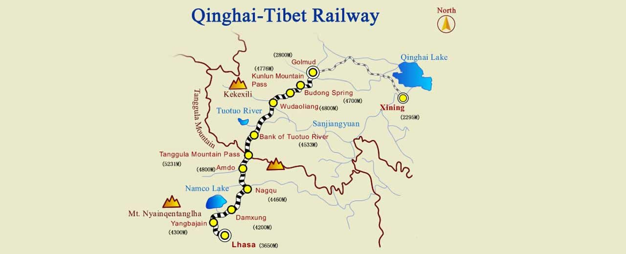 Qinghai-Tibet railway map